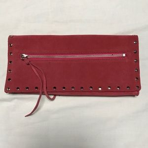 Banana Republic pink studded suede envelope clutch